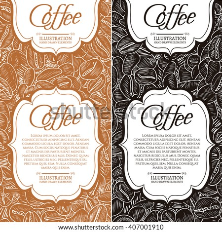 Black coffee and cappuccino concept roasted coffee beans hand drawn vintage sketch - stock vector