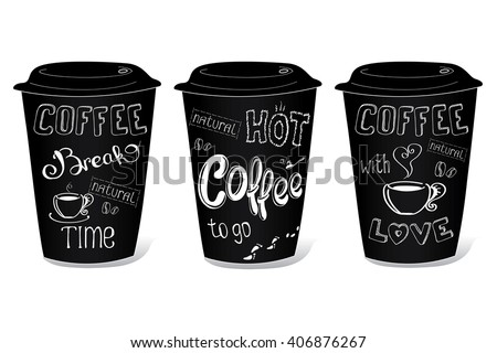Black coffee cup covered with hand-drawings on the theme of coffee, vector illustration on a white background.