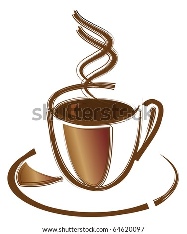 Black coffee in white cup. Vector illustration - stock vector