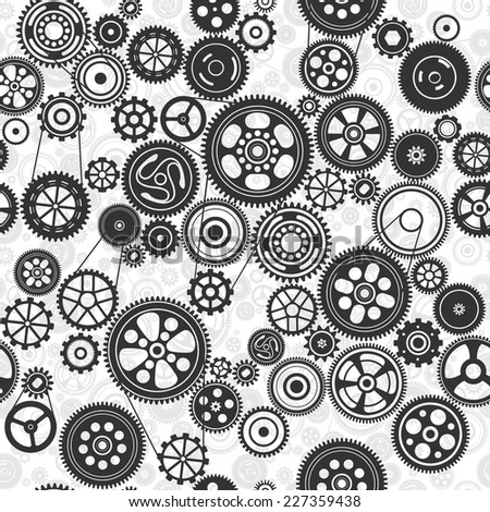 black cogs and gears seamless background, vector illustration
