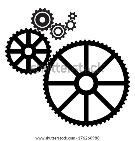 black cogs (gears) on a white background
