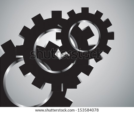 black cogs (gears) on  grey background