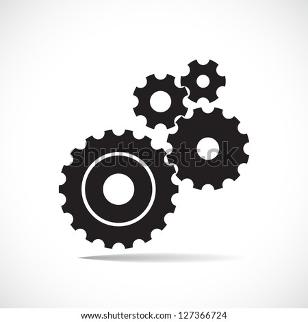black cogs (gears) on light background - stock vector