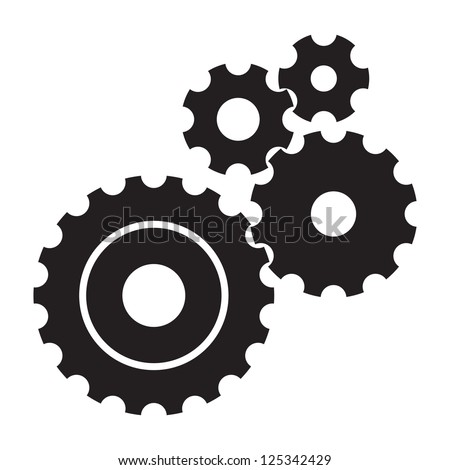 Black Cogs Gears On White Background Stock Vector 125342429 - Shutterstock