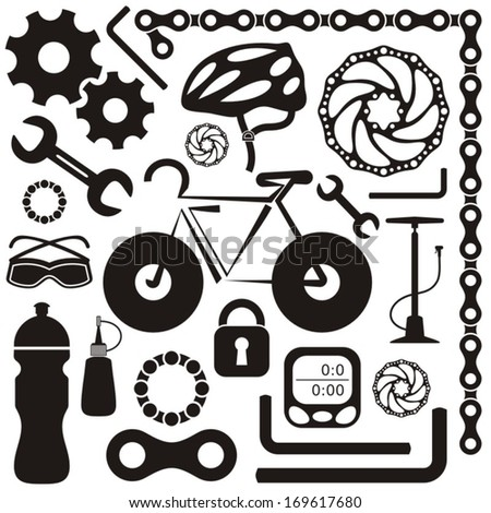 Black collection of bicycle accessories vector silhouette icons - stock vector