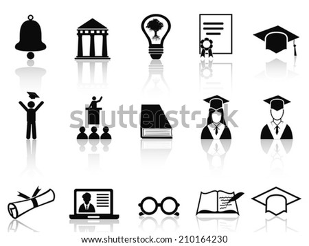 black college icons set - stock vector