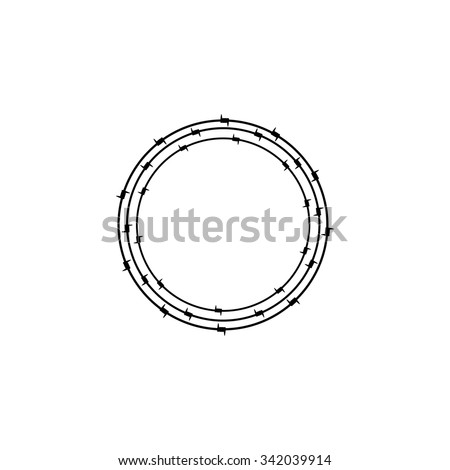 Black colored ring of barbed wire. Design element. Concept of insoluble problem, depression, crisis, armed conflict - stock vector