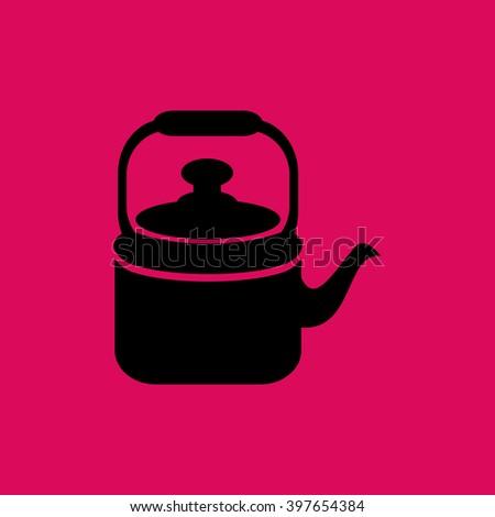 Black Colored Tea Kettle & Tea Pot Icon. Eps-10. - stock vector