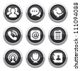 black communication buttons - stock photo