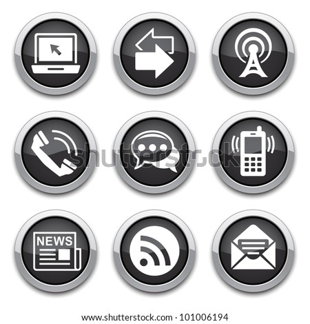 Black communication buttons - stock vector