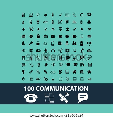 black communication icons, illustrations, signs, symbols set, vector - stock vector