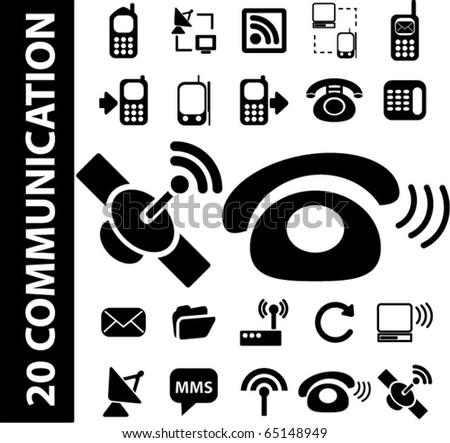 black communication signs. vector - stock vector