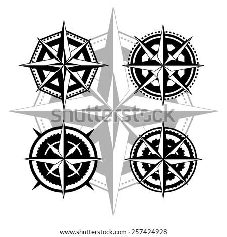 Black compass rose - stock vector