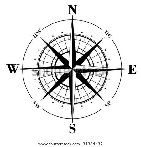 Black compass rose  isolated on whte - vector - stock vector