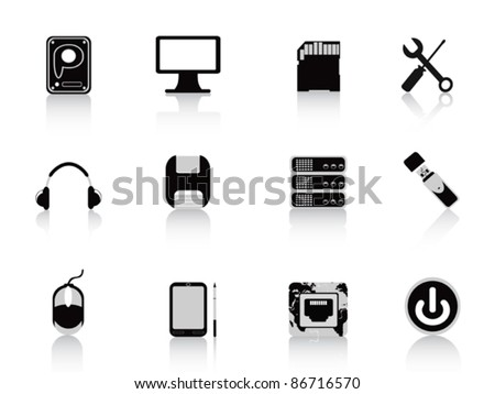 black computer equipment icon - stock vector