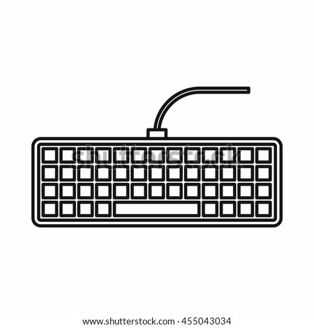 Black computer keyboard icon in outline style isolated vector illustration
