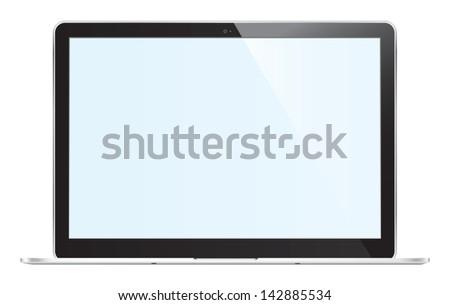 Black computer laptop, Vector Illustration. - stock vector