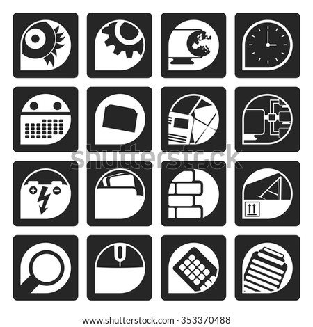Black Computer, mobile phone and Internet icons -  Vector Icon Set - stock vector