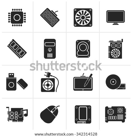 Black Computer part icons - vector icon set - stock vector
