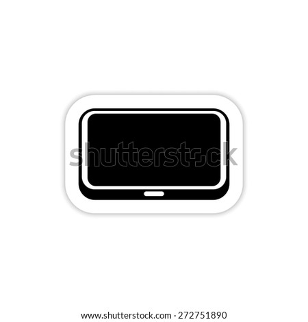 black computer tablet touchscreen icon on a white background with shadow  - stock vector