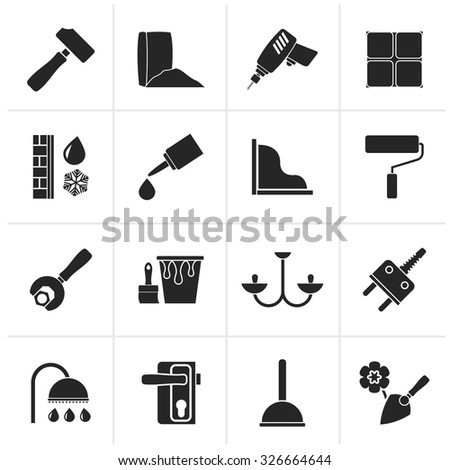 Black Construction and building equipment Icons - vector icon set 1 - stock vector