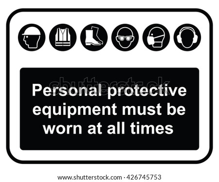 Black construction industry mandatory wear personal protection equipment sign to current British Standards isolated on white background