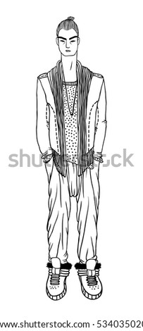 Black contour drawing. Hand drawn Guy Illustration. Stylish and trendy outfit. Actual Street Fashion Male Look