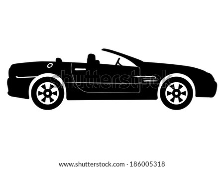 Black Convertible Car Vector Illustration - stock vector
