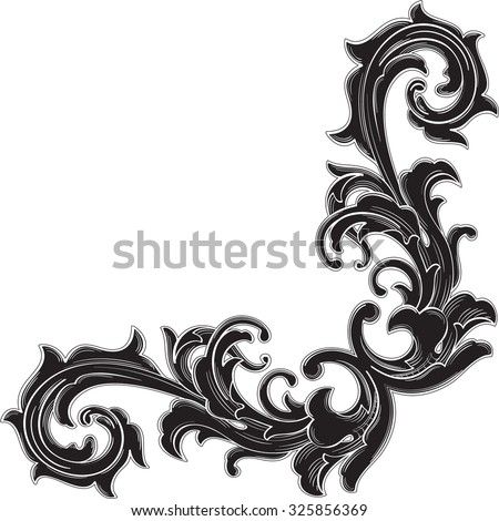 Black Corner Pattern Is Isolated On White