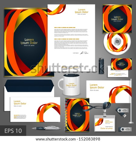 Black corporate identity template with color round elements. Vector company style for brandbook and guideline. EPS 10 - stock vector