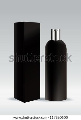 Black cosmetic bottle - stock vector