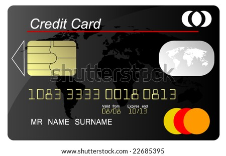 Black credit card vector, highly detailed - stock vector