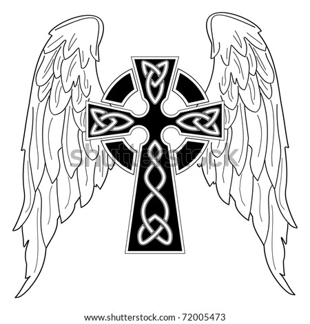 Black cross with wings on white - stock vector