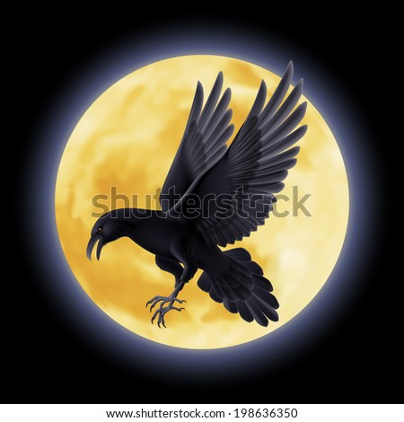 Black crow flying on the background of a full moon - stock vector