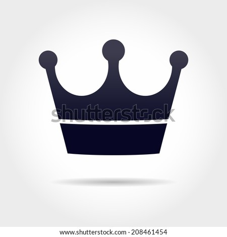 black crown icon in grey background - stock vector