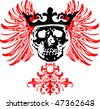 Black Crowned Skull on Red Wings. Vector Illustration. - stock vector