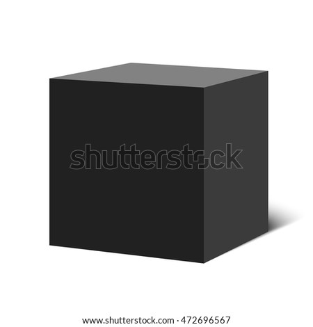 Black cube. Box. 3D. Vector illustration.