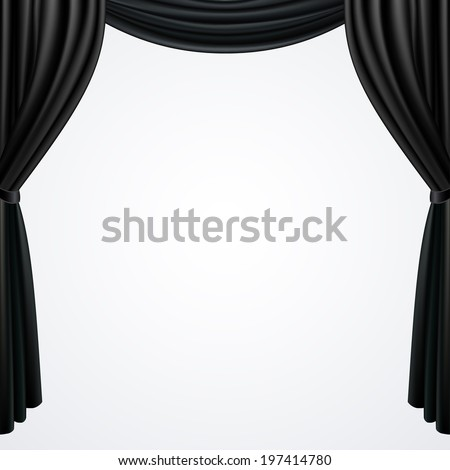 Black curtains  drapes  isolated on white background, vector illustration - stock vector