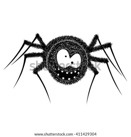 Black cute funny Spider vector Illustration - stock vector