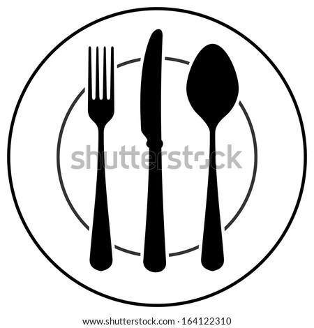 Black Cutlery Symbol - stock vector