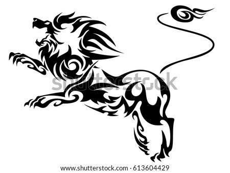 Line Art Lion : Black cutout tribal lion tattoo vector stock