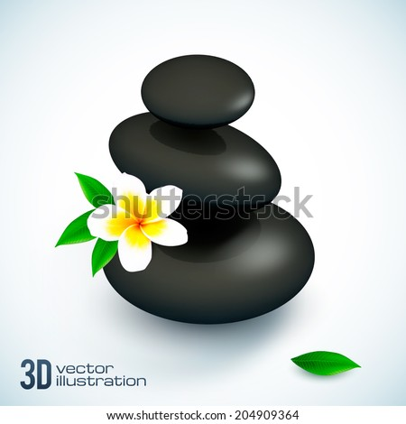 Black 3D vector spa rocks pyramid with frangipani flower