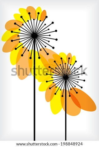 black dandelions silhouettes with transparent yellow leaves - stock vector