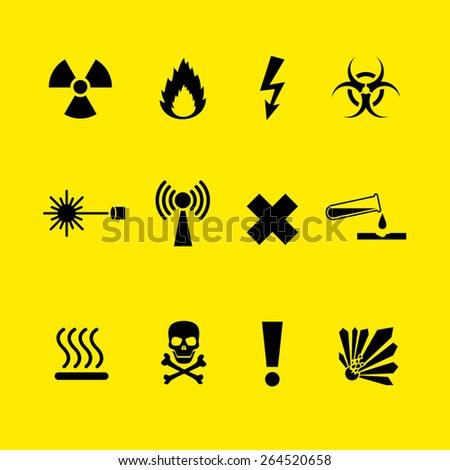 Black Danger symbols set on yellow background - stock vector