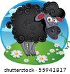 Black dark sheep with blade of grass on color background - stock vector