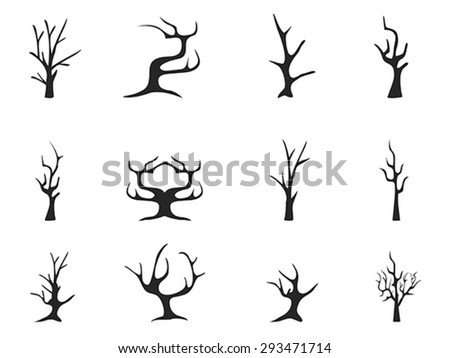 black dead tree icons - stock vector