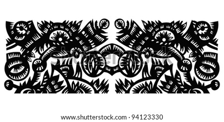black decorative pattern with flowers on a white background