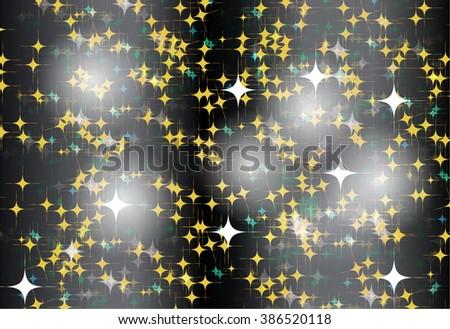 black Defocused Light, Flickering Lights, Vector abstract festive background with bokeh defocused lights. star. - stock vector