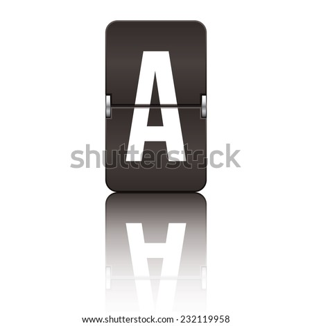 Black departure board letter a from a series of flipboard letters. - stock vector