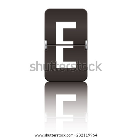 Black departure board letter e from a series of flipboard letters. - stock vector